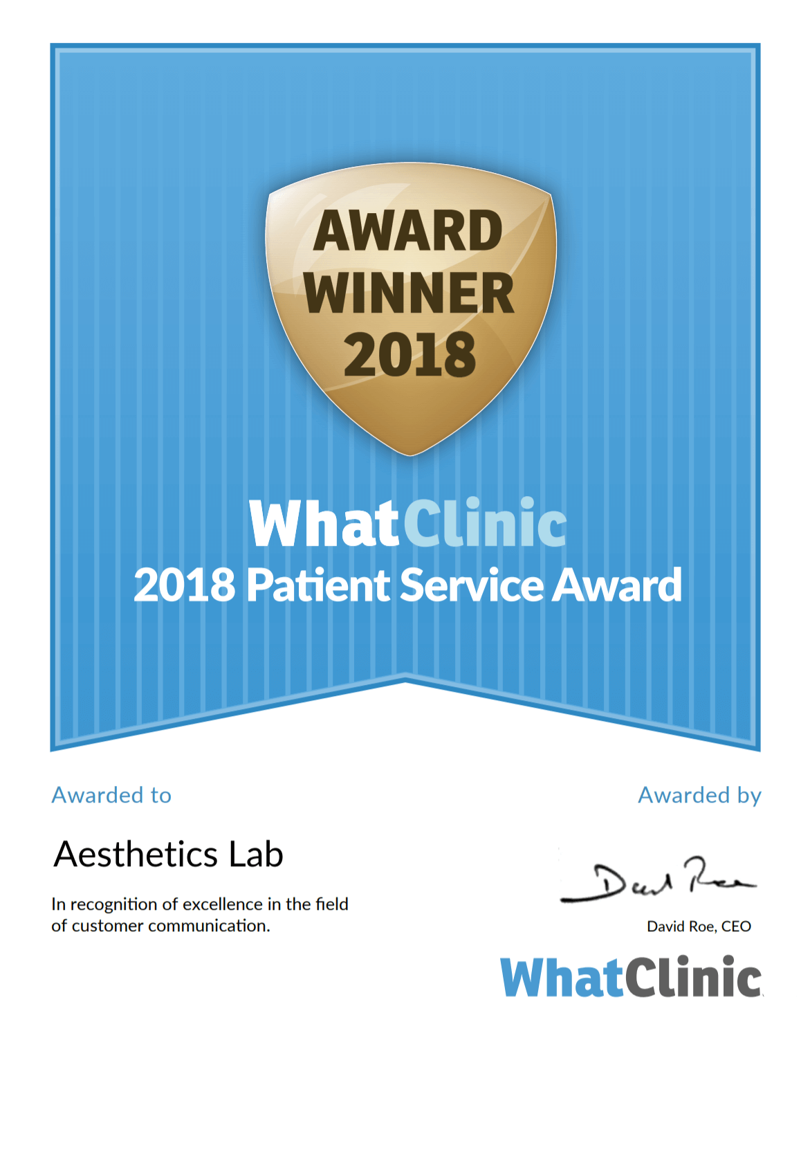 WHAT CLINIC SERVICE AWARD 2018 - WINNER